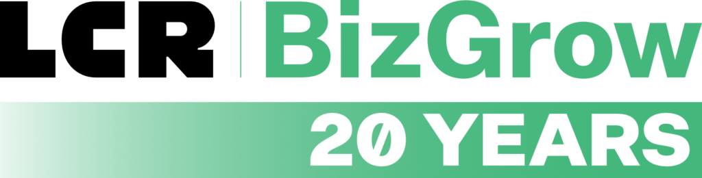 "LCR | BizGrow logo with ""20 Years"" written below in a gradient field of color, from white to green."